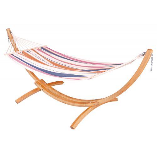CHILLOUNGE® Sunrise - Single-hængekøje med tværpind og stativ af FSC™-certificeret lærketræ
