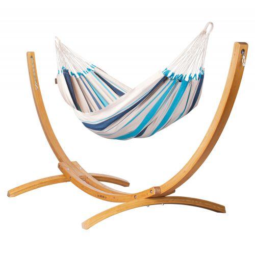 Caribeña Aqua Blue - Klassisk single-hængekøje med stativ af FSC™-certificeret lærketræ