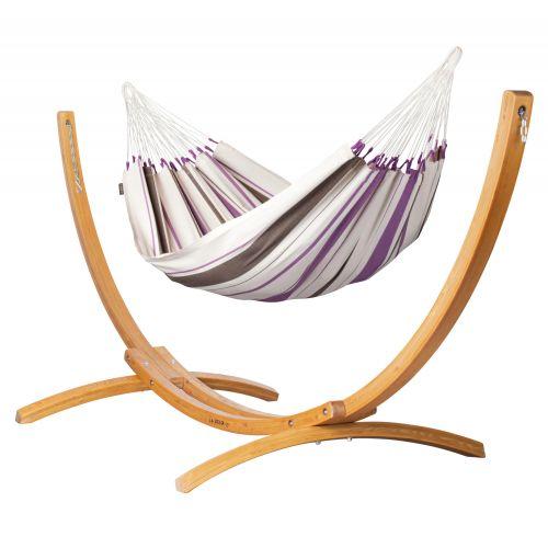 Caribeña Purple - Klassisk single-hængekøje med stativ af FSC™-certificeret lærketræ