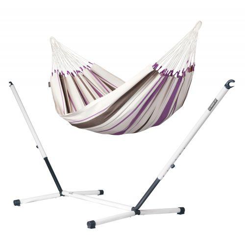 Caribeña Purple - Klassisk single-hængekøje med pulverlakeret stål- stativ