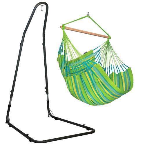Domingo Lime - Comfort-hængekøjestol med pulverlakeret stål- stativ