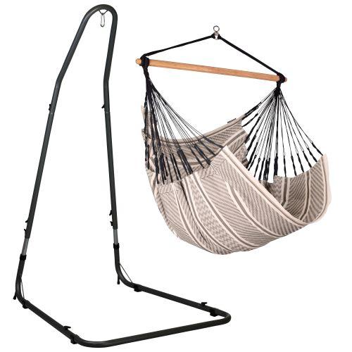 Habana Zebra - Comfort-hængekøjestol med pulverlakeret stål- stativ