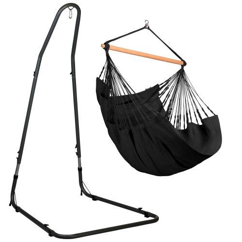 Habana Onyx - Comfort-hængekøjestol med pulverlakeret stål- stativ