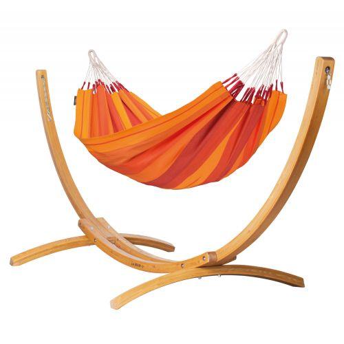 Orquídea Volcano - Klassisk single-hængekøje med stativ af FSC™-certificeret lærketræ