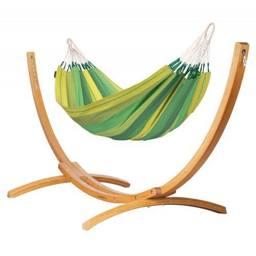 Orquídea Jungle - Klassisk single-hængekøje med stativ af FSC™-certificeret lærketræ