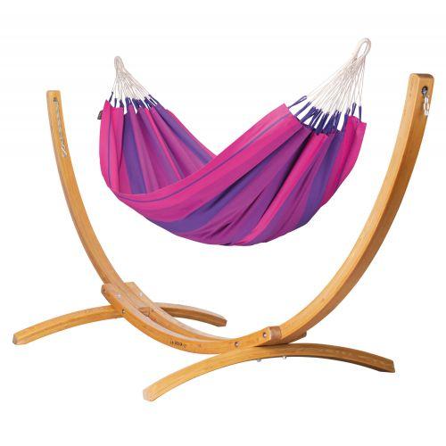 Orquídea Purple - Klassisk single-hængekøje med stativ af FSC™-certificeret lærketræ