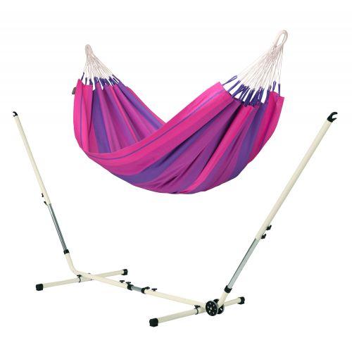 Orquídea Purple - Klassisk single-hængekøje med pulverlakeret stål- stativ