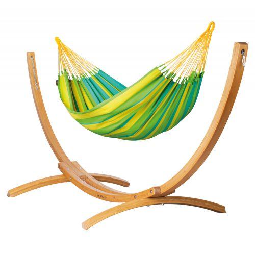 Sonrisa Lime - Klassisk single-hængekøje med stativ af FSC™-certificeret lærketræ