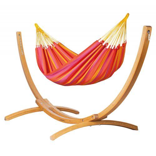 Sonrisa Mandarine - Klassisk single-hængekøje med stativ af FSC™-certificeret lærketræ